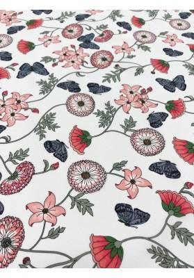 Krepa jedwabna kwiaty na jasnym tle - 1