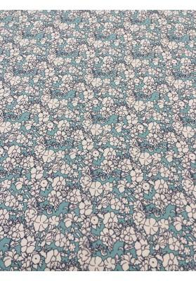 Krepa jedwabna wiosenne kwiaty na błękicie - 1