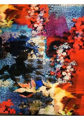 Satyna jedwabna mazane kwiaty - 1