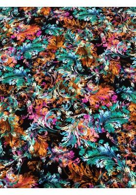 Satyna jedwabna druk na matowej stronie kolorowe ornamenty - 1