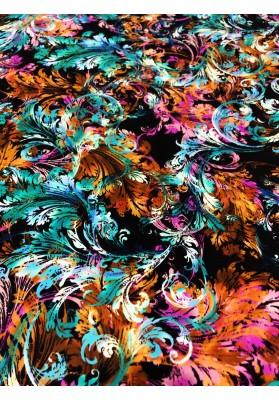 Satyna jedwabna druk na matowej stronie kolorowe ornamenty - 2