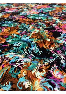 Satyna jedwabna druk na matowej stronie kolorowe ornamenty - 3
