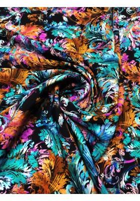 Satyna jedwabna druk na matowej stronie kolorowe ornamenty - 4