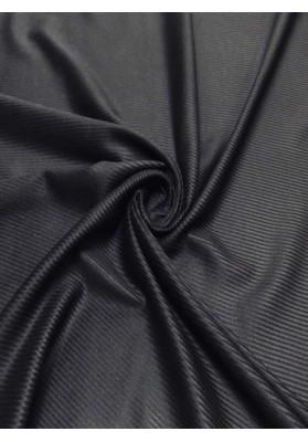 Wełna płaszczowa czarna z prążkiem - 1
