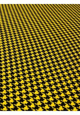 Wełna kostiumowa kurza stopa drobna żółto-czarna - 1