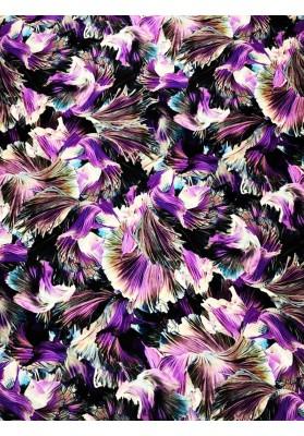Satyna jedwabna kwiaty we fiolecie - 1