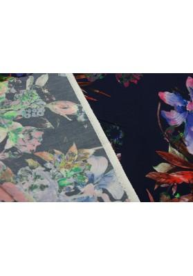 Wiskoza kolorowe kwiaty na ciemnym tle - 0