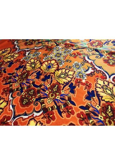 Satyna jedwabna kolorowy ornament na pomarańczy - 1