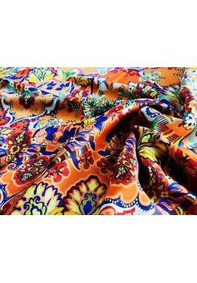 Satyna jedwabna kolorowy ornament na pomarańczy - 2