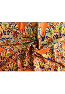 Satyna jedwabna kolorowy ornament na pomarańczy - 3
