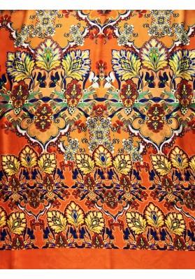 Satyna jedwabna kolorowy ornament na pomarańczy - 4