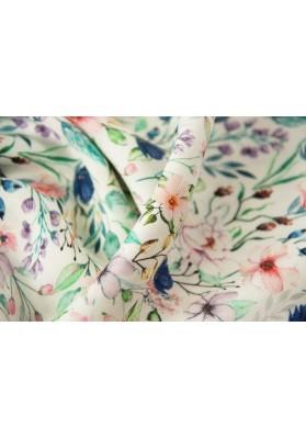 Wiskoza kolorowe kwiaty na bieli - 0