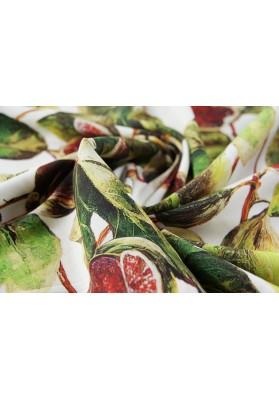Krepa jedwabna z elastanem orientalny owoc - 0