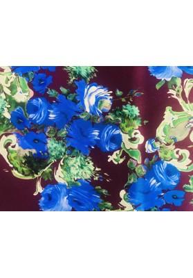 Satyna jedwabna niebieskie kwiaty na bordzie - 0