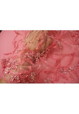 Koronka z koralikami róż - 0