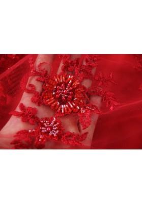 Koronka z koralikami czerwona - 0