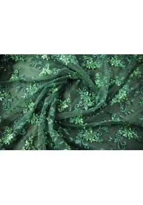 Koronka z koralikami szmaragd - 0