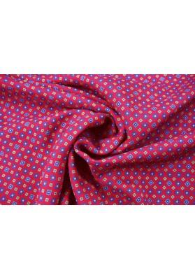 Tkanina wełniano-jedwabna drobny wzór na czerwieni - 0