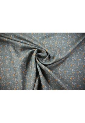 Tkanina wełniano-jedwabna drobne kwiaty na morskim tle - 0