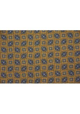 Tkanina wełniano-jedwabna drobny wzór na musztardowym tle - 0
