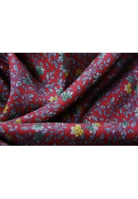 Tkanina wełniano-jedwabna kwiatki na bordzie - 0