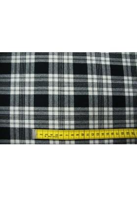 Wełna ubraniowa krata biało-czarna - 0