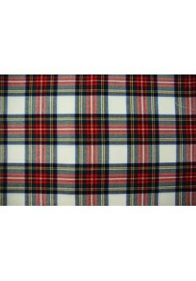 Wełna ubraniowa krata szkocka ecru - 0