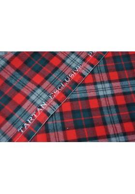 Wełna ubraniowa krata szkocka czerwono-szara - 0