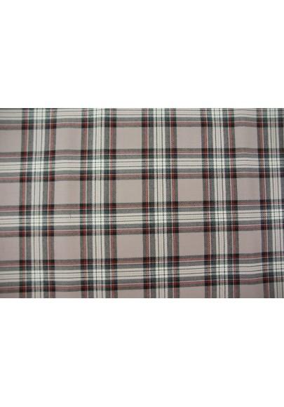 Wełna ubraniowa krata szkocka w brudnym różu - 0
