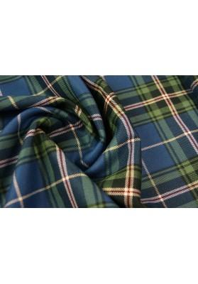 Wełna ubraniowa krata merynos niebiesko-zielona - 0
