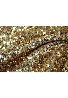 Cekiny drobne kółka złoty na czarnym tiulu - 0