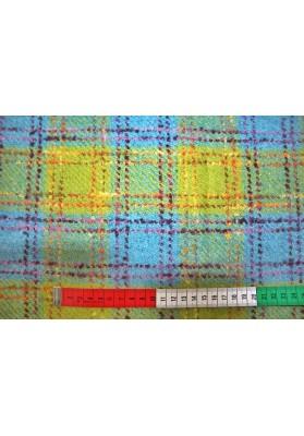 Wełna płaszczowa z merynosa kolorowa krata - 0