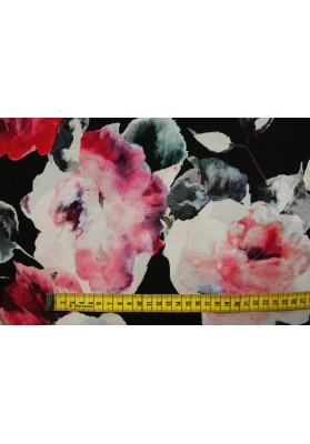 Krepa jedwabna duże kwiaty na czerni - 0