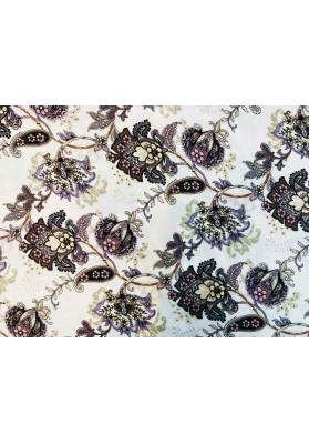 Satyna jedwabna drobne kwiaty na ecru - 1