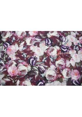 Krepa jedwabna gęste kwiaty na bordzie - 1