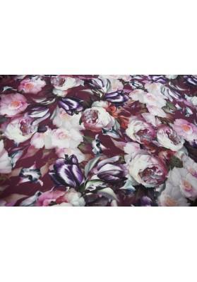 Krepa jedwabna gęste kwiaty na bordzie - 2