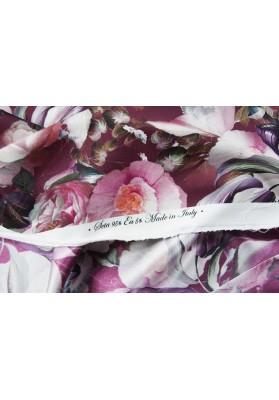 Krepa jedwabna gęste kwiaty na bordzie - 3