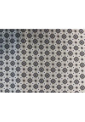Satyna jedwabna beżowo-brązowe kółka - 0