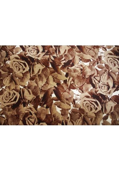 Krepa jedwabna róże w brązach - 1