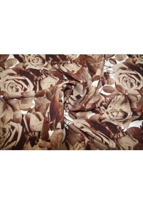 Krepa jedwabna róże w brązach - 3