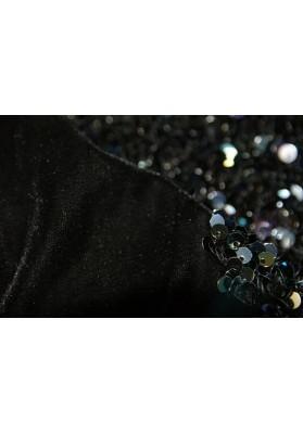 Cekiny drobne kolorowe na czarnym welurze - 0