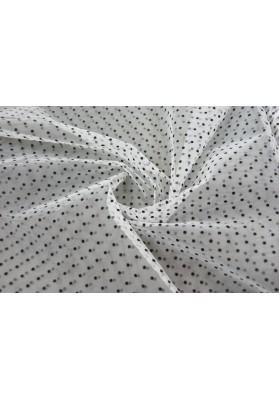 Tiul sztywny czarne kropki na bieli - 0