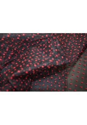 Tiul sztywny czerwone kropki na czerni - 0