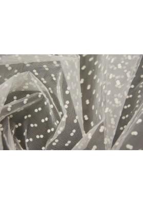 Tiul sztywny białe kropki na bieli - 0
