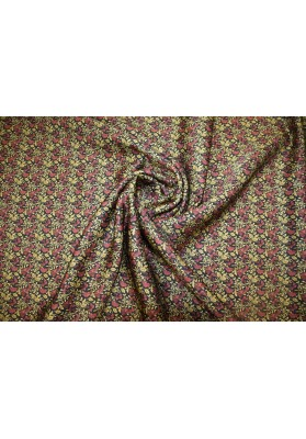 Tkanina jedwabno-wełniana ornament na czerni - 0