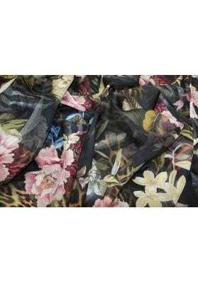 Szyfon jedwabny kwiaty na ciemnym tle - 0