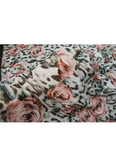Szyfon jedwabny różowe kwiaty na panterce - 1