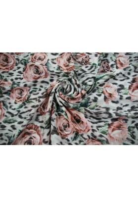 Szyfon jedwabny różowe kwiaty na panterce - 2