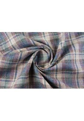 Wełna ubraniowa krata w śliwce - 0