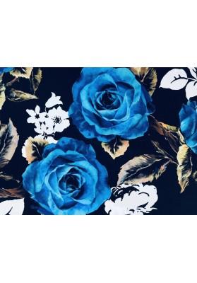 Krepa jedwabna niebieskie róże - 0